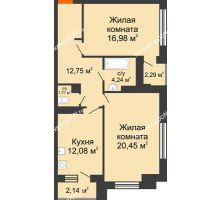 2 комнатная квартира 70,43 м², ЖК Монте-Карло - планировка
