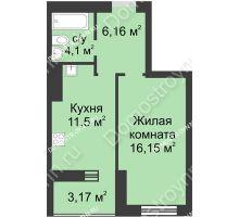 1 комнатная квартира 41,08 м² - ЖК Буревестник