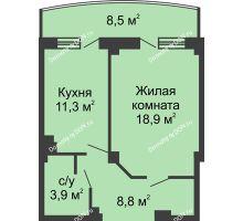 1 комнатная квартира 47,2 м² в ЖК Новый Город, дом № 2 - планировка