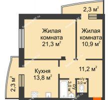 2 комнатная квартира 66,2 м² в ЖКСпутник, дом Позиция 4 - планировка