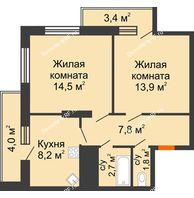 2 комнатная квартира 56,3 м², ЖК Космолет - планировка