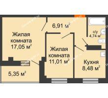 2 комнатная квартира 50,87 м², Жилой дом в 7 мкрн.г.Сосновоборск - планировка