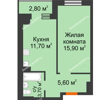 1 комнатная квартира 38,3 м² в Микрорайон Прибрежный, дом № 8 - планировка