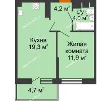 1 комнатная квартира 40,8 м² в ЖК Отражение, дом Литер 2.2 - планировка