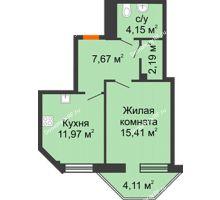 1 комнатная квартира 42,62 м² в ЖК Чернавский, дом 2 этап