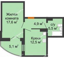 1 комнатная квартира 43,1 м² в ЖК Крымский квартал, дом позиция 1 - планировка
