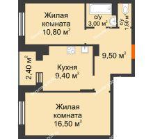 2 комнатная квартира 51,9 м² в Микрорайон Прибрежный, дом № 8 - планировка
