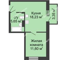 1 комнатная квартира 38,83 м² в ЖК Красная поляна, дом № 6