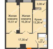 2 комнатная квартира 70,5 м², ЖК Штахановского - планировка