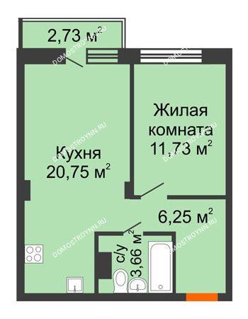 1 комнатная квартира 43,21 м² - ЖК Зеленый берег Life
