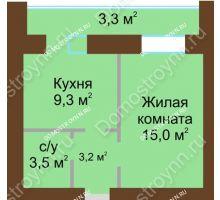 1 комнатная квартира 37,6 м² в ЖК Рубин, дом № 67
