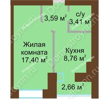 1 комнатная квартира 34,49 м² в ЖК Парк Горького, дом 62/6, № 3 - планировка