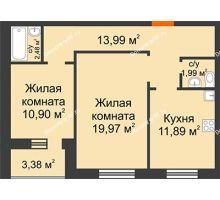 2 комнатная квартира 64,6 м² в ЖК Троицкий, дом Корпус 1 - планировка