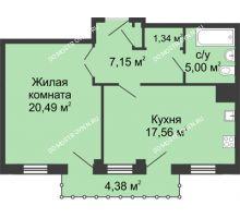 1 комнатная квартира 52,86 м² - ЖК Сергиевская Слобода