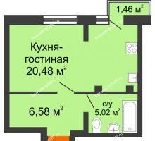 Студия 33,24 м², ЖК Онегин - планировка