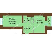 1 комнатная квартира 41,58 м² в ЖК Парк Горького, дом 62/6, № 3