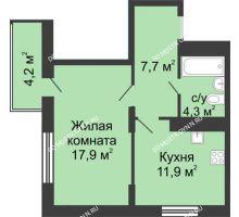 1 комнатная квартира 43,06 м² в ЖК Цветы, дом № 11