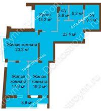 3 комнатная квартира 120,83 м², ЖК Классика - Модерн - планировка