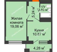 1 комнатная квартира 41,16 м², ЖД Весна - планировка