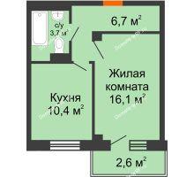 1 комнатная квартира 38,9 м², ЖД Подзолкова - планировка