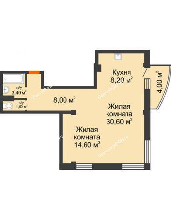 2 комнатная квартира 67,6 м² - ЖК Южная Башня
