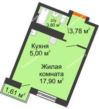 Студия 26,05 м² в ЖК Мечников, дом ул. Мечникова, 37 - планировка