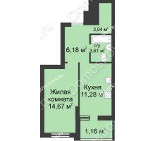 1 комнатная квартира 39,94 м² в ЖК Маленькая страна, дом № 1 - планировка