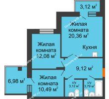 3 комнатная квартира 63,96 м², ЖК Abrikos (Абрикос) - планировка