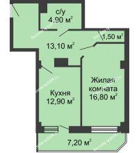 1 комнатная квартира 53,6 м², ЖК Крылья Ростова - планировка