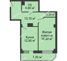 1 комнатная квартира 52,8 м², ЖК Крылья Ростова - планировка
