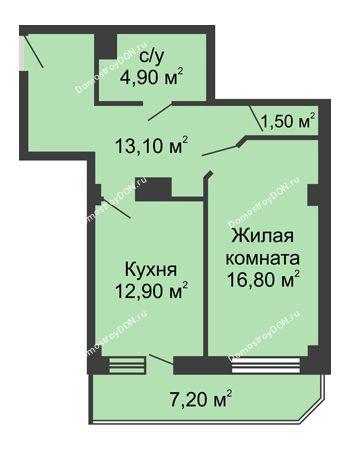 1 комнатная квартира 53,6 м² - ЖК Крылья Ростова