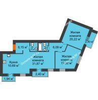 3 комнатная квартира 103,49 м² в Микpopaйoн  Преображенский, дом № 9 - планировка