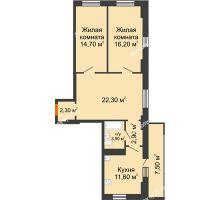2 комнатная квартира 76,2 м² в ЖК Восточный парк, дом Литер 3 - планировка