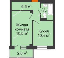 1 комнатная квартира 38,4 м², ЖД Подзолкова - планировка