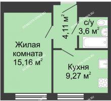 1 комнатная квартира 32,2 м² - ЖК Алый Парус
