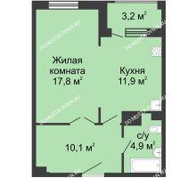 1 комнатная квартира 46,3 м² в ЖК Сердце Нижнего, дом № 35 - планировка