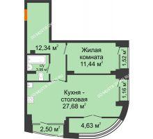 1 комнатная квартира 59,32 м², Клубный дом на Ярославской - планировка