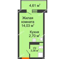 Студия 21,49 м² в ЖК Свобода, дом № 1 - планировка