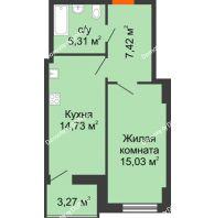 1 комнатная квартира 44,15 м² в ЖК Аврора, дом № 1 - планировка