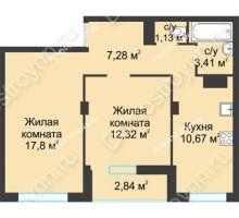 2 комнатная квартира 55,45 м² в ЖК На Вятской, дом № 3 (по генплану)