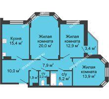 3 комнатная квартира 92,9 м² в ЖК Цветы, дом № 27 - планировка