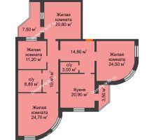 4 комнатная квартира 141 м², ЖК по ул. Циолковского - планировка
