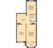 2 комнатная квартира 84,7 м² - ЖК Симфония Нижнего
