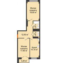2 комнатная квартира 71,2 м², ЖК Гагарин - планировка