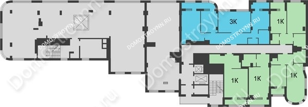 Планировка 16 этажа в доме № 5 в ЖК Караваиха