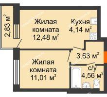 2 комнатная квартира 36,67 м² - ЖК Каскад на Путейской