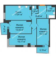 3 комнатная квартира 79,62 м² в ЖК Сердце Ростова 2, дом Литер 1 - планировка