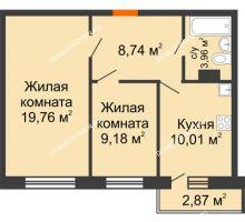 2 комнатная квартира 52,51 м² - ЖК Зеленый берег Life