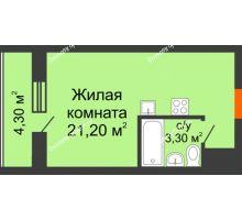 Студия 26,7 м² в ЖК Левенцовка парк, дом Корпус 8-5 - планировка