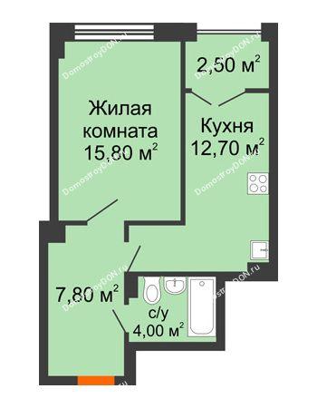 1 комнатная квартира 43 м² - ЖК Гагарин